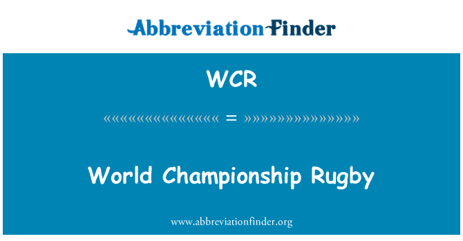 WCR: World Championship Rugby