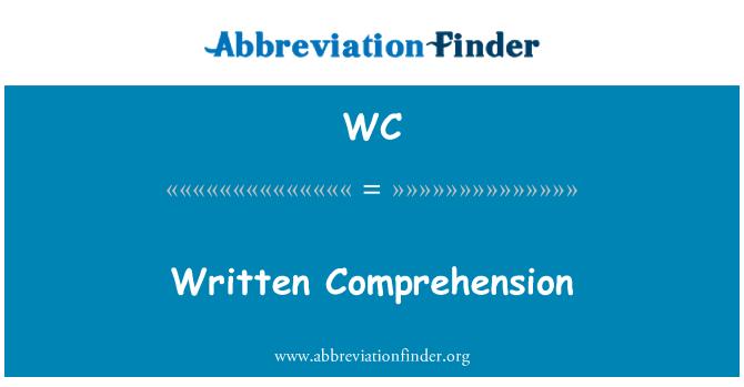 WC: Written Comprehension