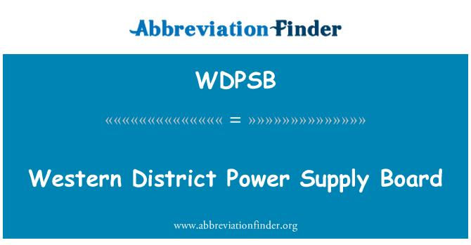 WDPSB: Western District Power Supply Board