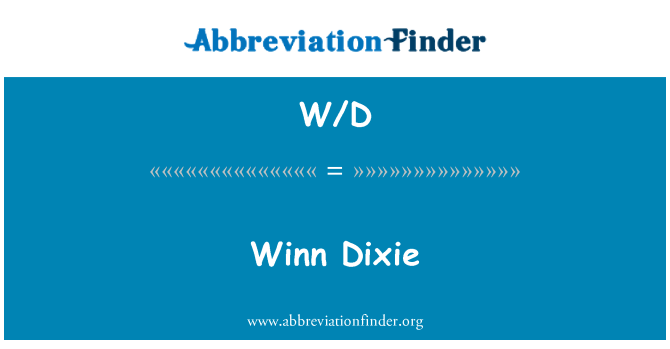 W/D: Winn Dixie