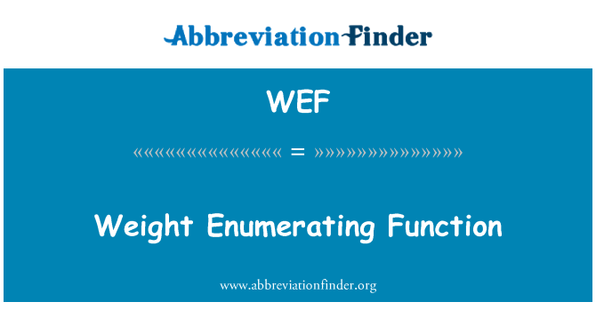 WEF: Weight Enumerating Function