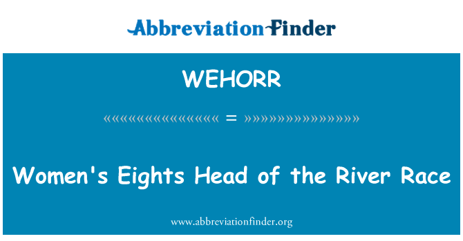 WEHORR: Women's Eights Head of the River Race