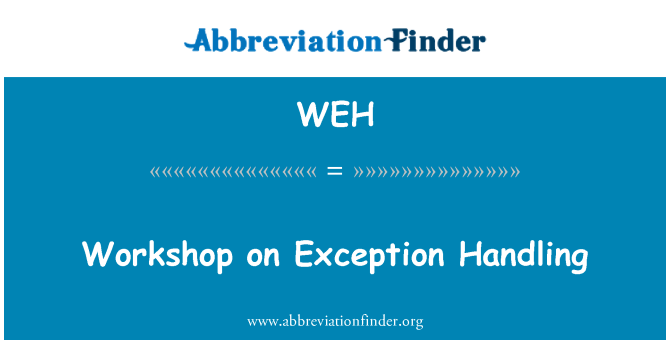 WEH: Workshop on Exception Handling