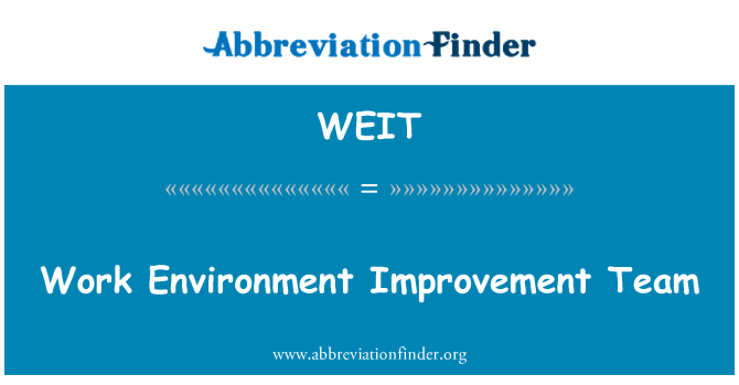 WEIT: Work Environment Improvement Team