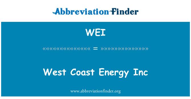 WEI: West Coast Energy Inc
