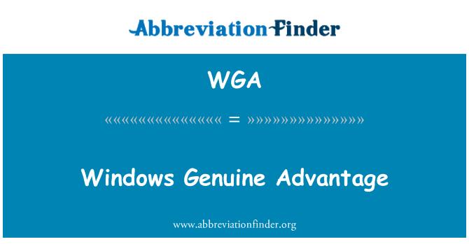WGA: Windows Genuine Advantage