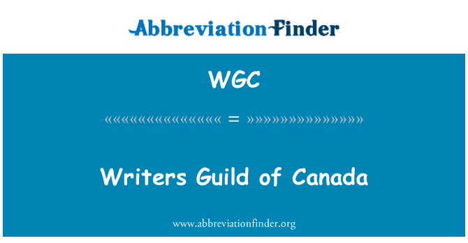 WGC: Writers Guild of Canada