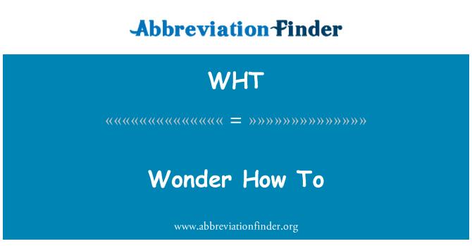 WHT: Ei tea kuidas