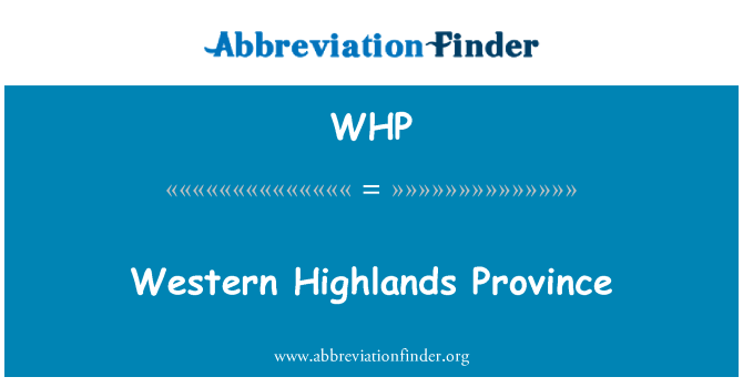 WHP: Western Highlands Province