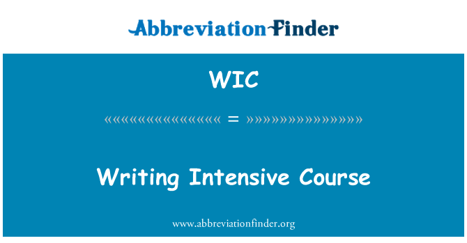 WIC: Writing Intensive Course