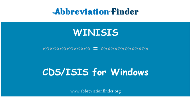 WINISIS: CDS/ISIS for Windows