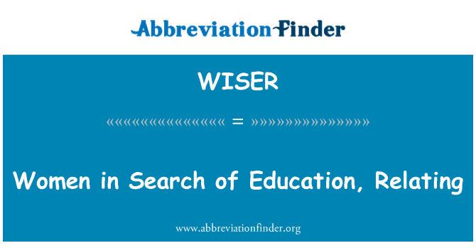 WISER: Women in Search of Education, Relating