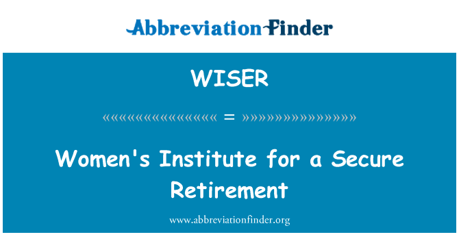 WISER: Women's Institute for a Secure Retirement