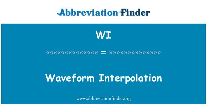 WI: Waveform Interpolation