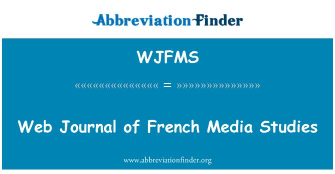 WJFMS: Web Journal of French Media Studies