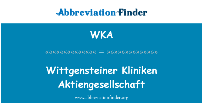 WKA: Wittgensteiner Kliniken Aktiengesellschaft