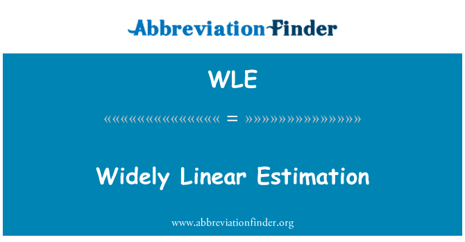WLE: Widely Linear Estimation