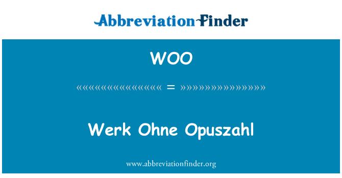 WOO: Werk Ohne Opuszahl