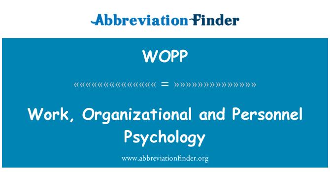 WOPP: Psicología del trabajo, organización y personal