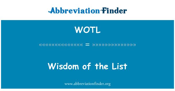 WOTL: Sabiduría de la lista