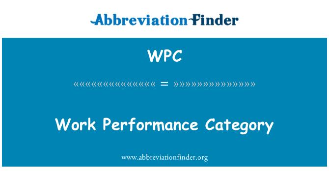 WPC: Categoría de rendimiento de trabajo