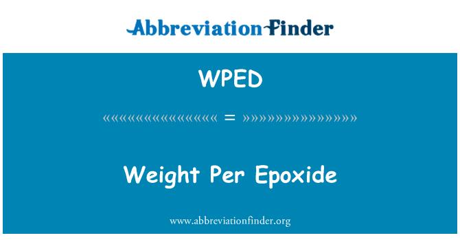 WPED: Epoksit başına ağırlık