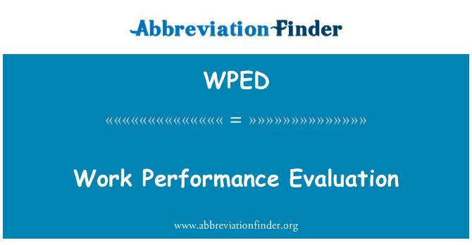 WPED: İş performans değerlendirme