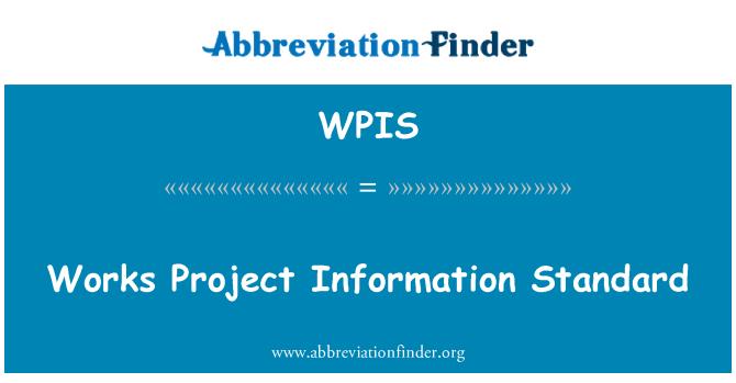 WPIS: İnşaat proje bilgilerini standart