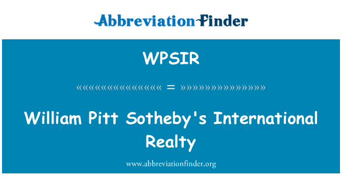 WPSIR: William Pitt Sotheby's International Realty