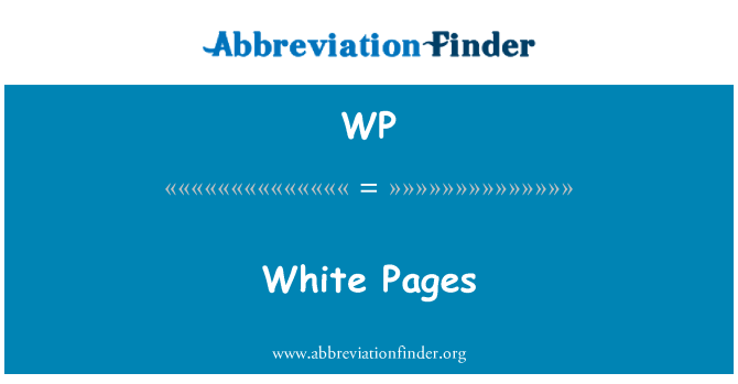WP: White Pages