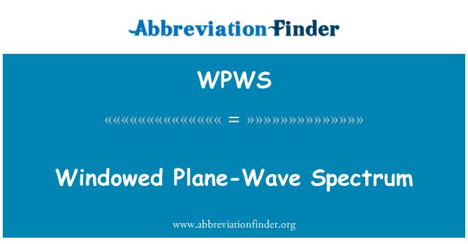 WPWS: Pencereli düzlem dalga spektrumu