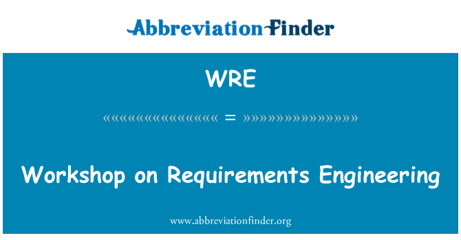 WRE: Workshop on Requirements Engineering