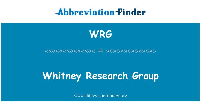 WRG: Whitney Research Group