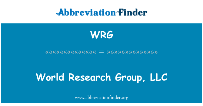 WRG: World Research Group, LLC