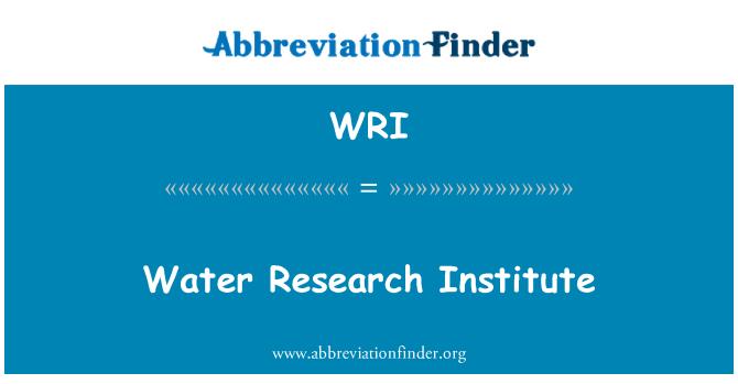 WRI: Water Research Institute