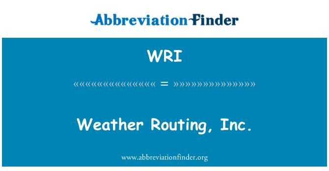 WRI: Weather Routing, Inc.