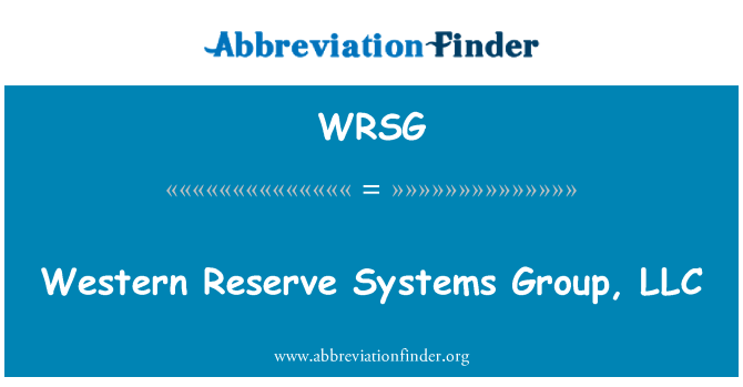 WRSG: Western Reserve Systems Group, LLC