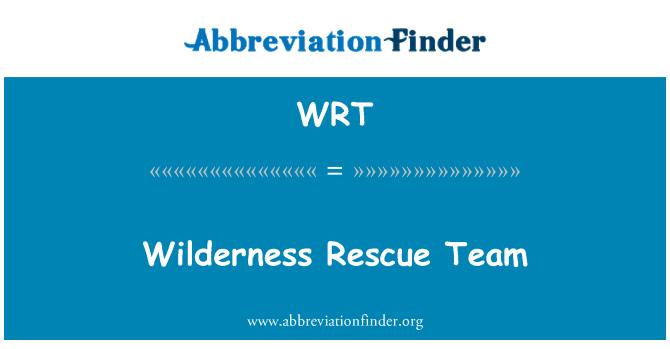 WRT: Wilderness Rescue Team