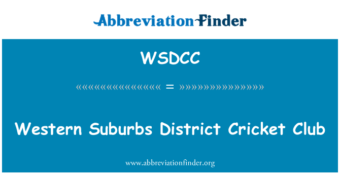 WSDCC: Western Suburbs District Cricket Club