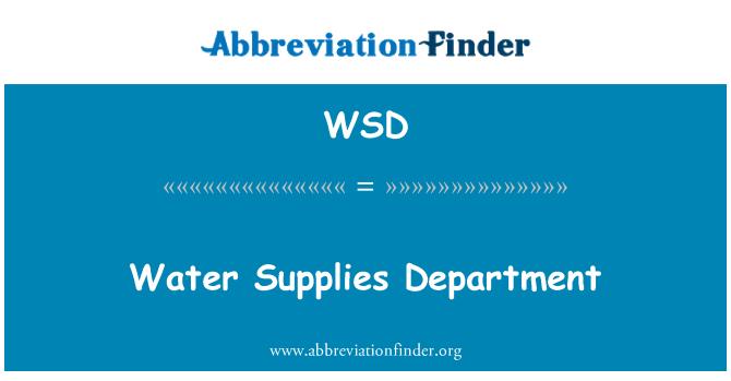 WSD: Water Supplies Department