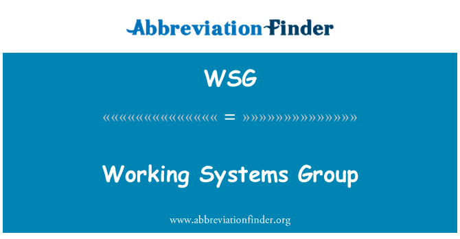 WSG: Working Systems Group
