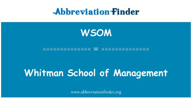 WSOM: 惠特曼管理學院