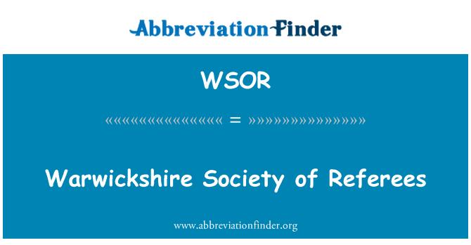 WSOR: Warwickshire társadalom játékvezetők