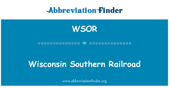 WSOR: Kereta Api Southern Wisconsin