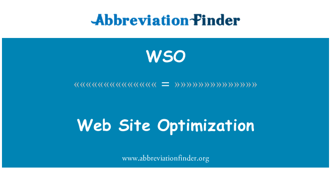 WSO: Web Site Optimization