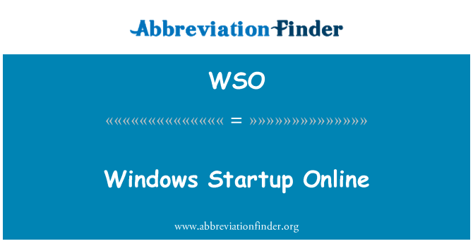 WSO: Windows Startup Online