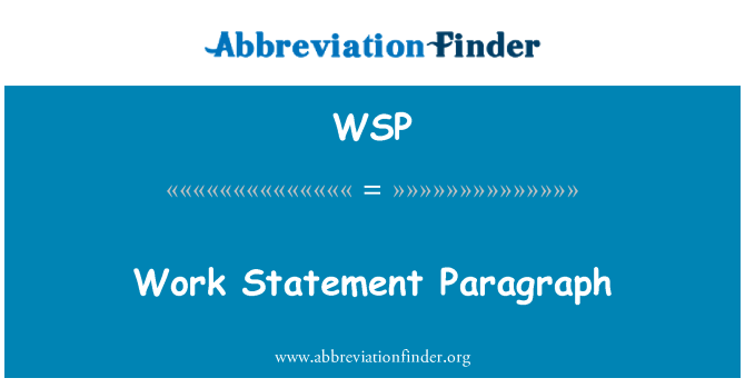 WSP: Work Statement Paragraph