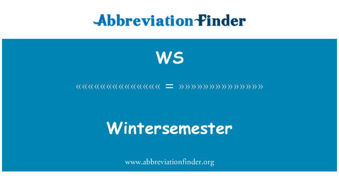 WS: Wintersemester