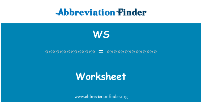 WS: Worksheet