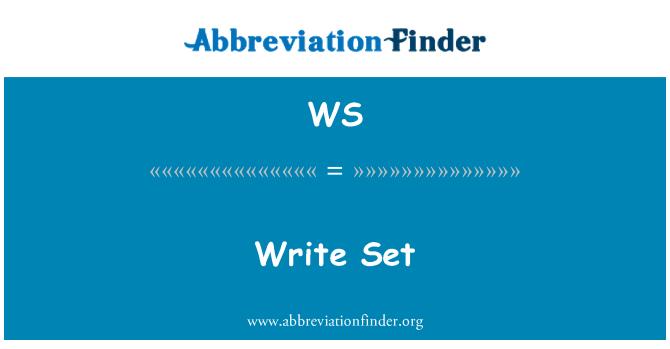 WS: Write Set